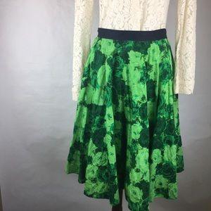 Anthropologie Edme and Esyllte Green Floral Skirt